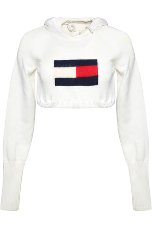 REPURPOSED VINTAGE TOMMY HILFIGER LOGO CROPPED SWEATER KNIT