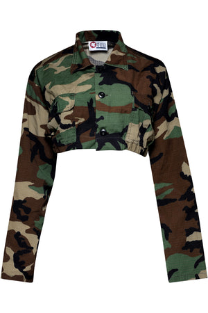 REPURPOSED VINTAGE CAMOUFLAGE CROPPED SHIRT (WOODLAND)