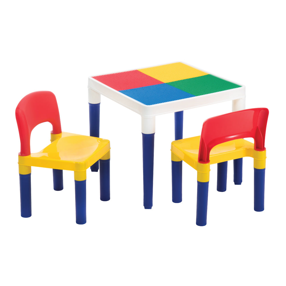 Baby Star x Delsun 2-in-1 Building Block Table and Chairs Set - Rainbow