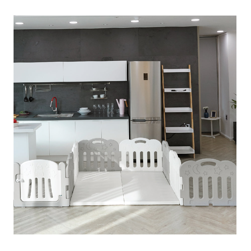 Caraz 7+1 Baby Room and Play Mat Set with Panel Holders - Grey + White