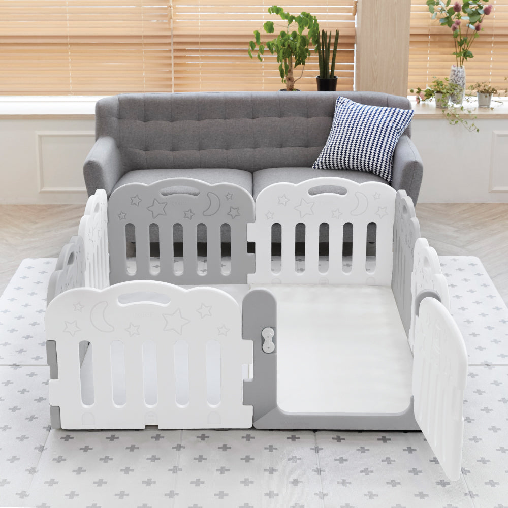 Caraz 7+1 Baby Room and Play Mat Set with Panel Holders - Secret Grey + White