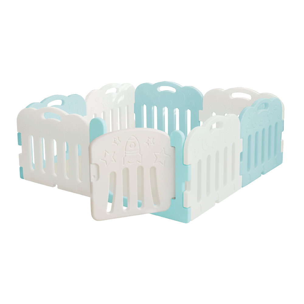 Caraz 7+1 Baby Room and Play Mat Set with Panel Holders - Cool Mint + White