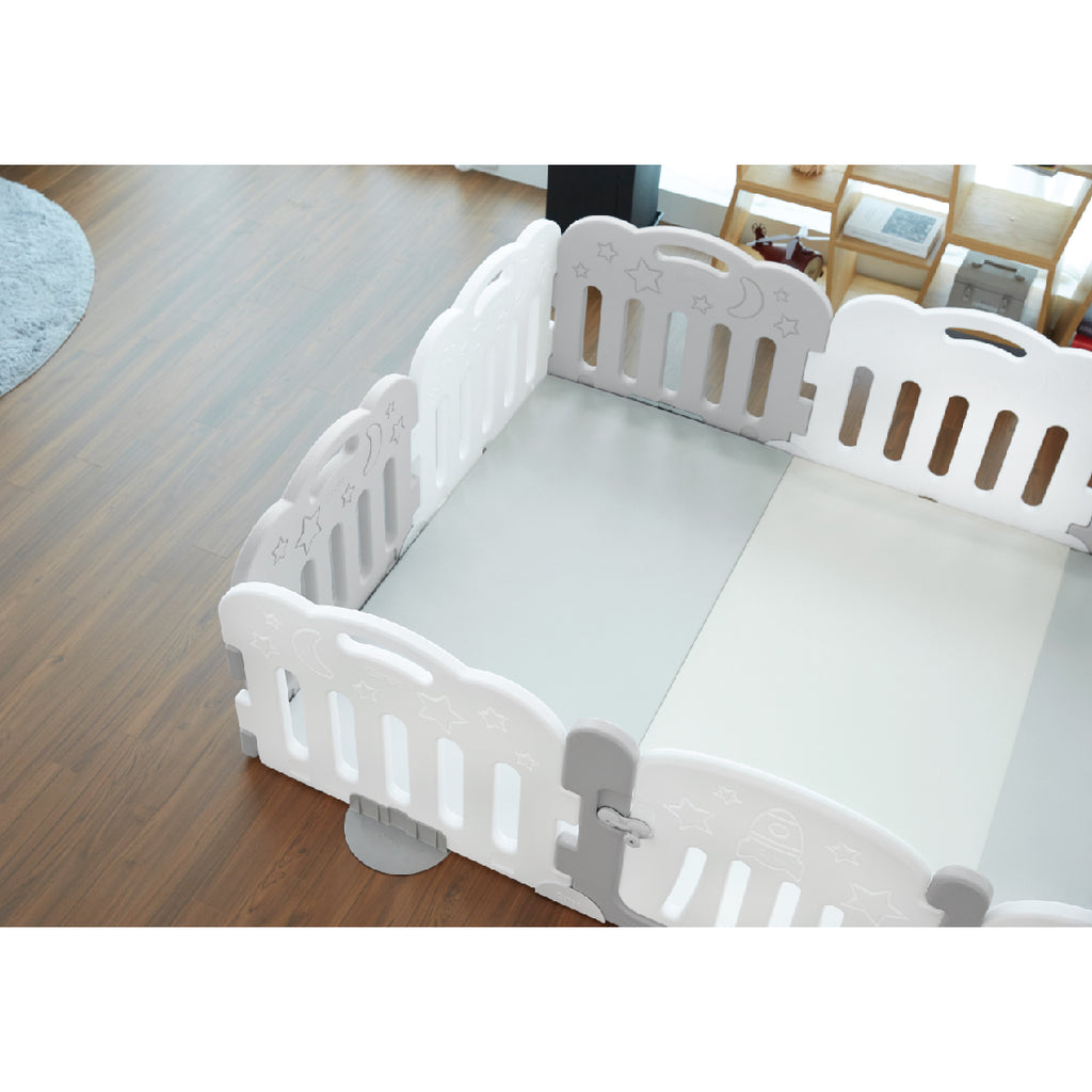 Caraz 9+1 Baby Room and Play Mat Set with Panel Holders - Secret Grey + White