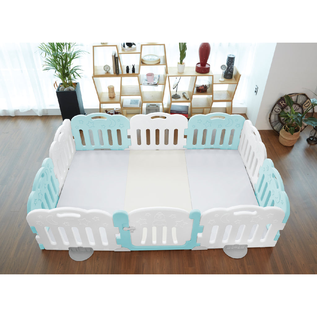 Caraz 9+1 Baby Room and Play Mat Set with Panel Holders - Cool Mint + White