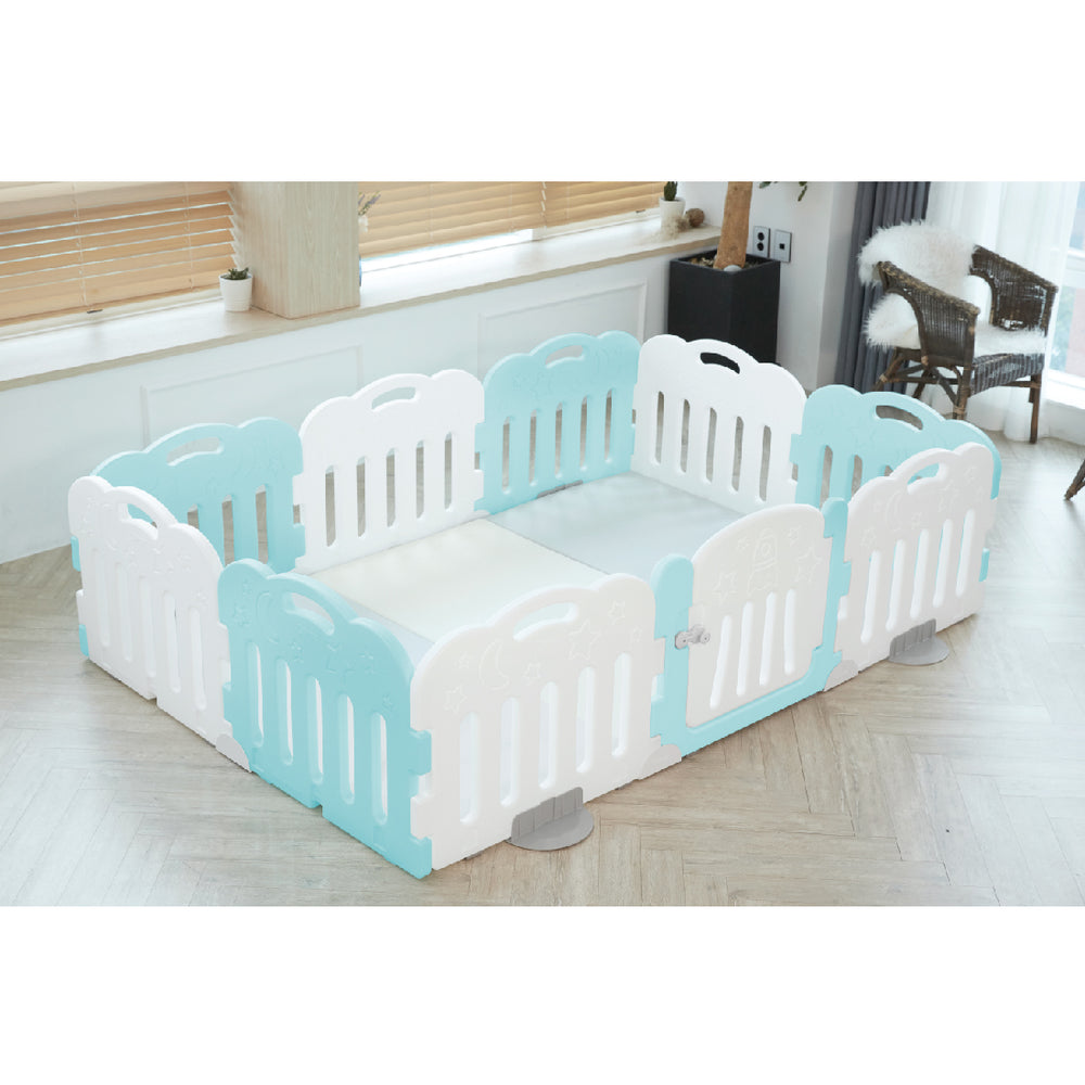 Caraz 9+1 Baby Room and Play Mat Set with Panel Holders - Mint + White
