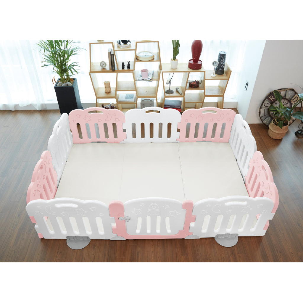 Caraz 9+1 Baby Room and Play Mat Set with Panel Holders - Lovely Pink + White