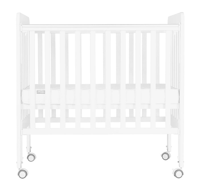 "Baby Star Melio Baby Cot with 3"" Mattress - White / New Zealand Pine"