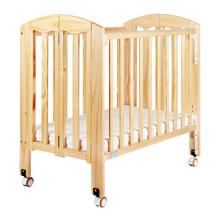 "Baby Star Easi Foldable Baby Cot with 2"" Mattress - Natural / New Zealand Pine"