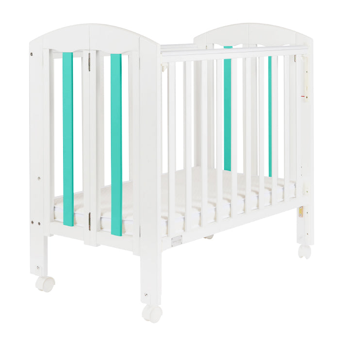 "Baby Star Easi Foldable Baby Cot with 2"" Mattress - Turquoise / New Zealand Pine"