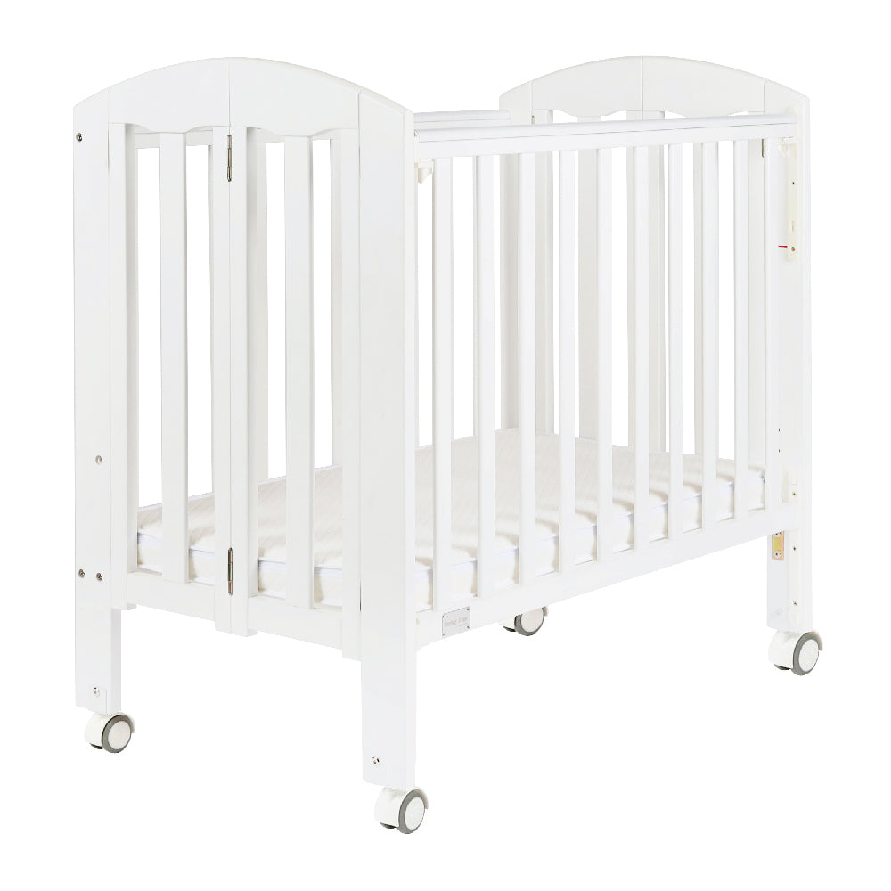 "Baby Star Easi Foldable Baby Cot with 2"" Mattress - White / New Zealand Pine"