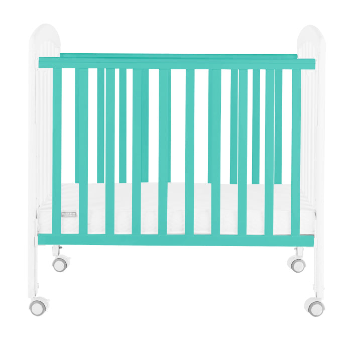 "Baby Star Medi Baby Cot with 3"" Mattress - Turquoise / New Zealand Pine"