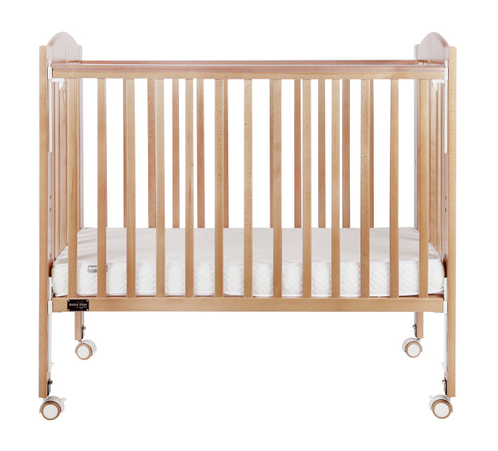 "Baby Star Huggy Foldable Baby Cot with 3"" Mattress - Natural / European Beech"