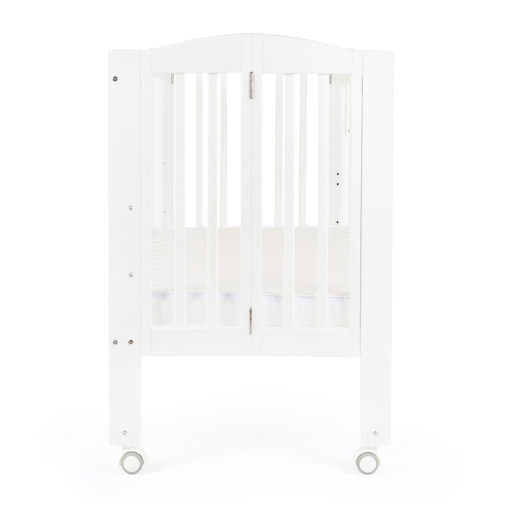 "Baby Star Huggy Foldable Baby Cot with 3"" Mattress - White / European Beech"
