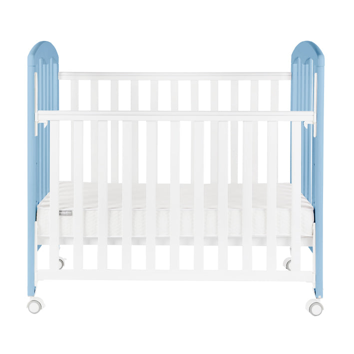 "Baby Star Cozzi Baby Cot with 4"" Mattress - Blue / European Beech"