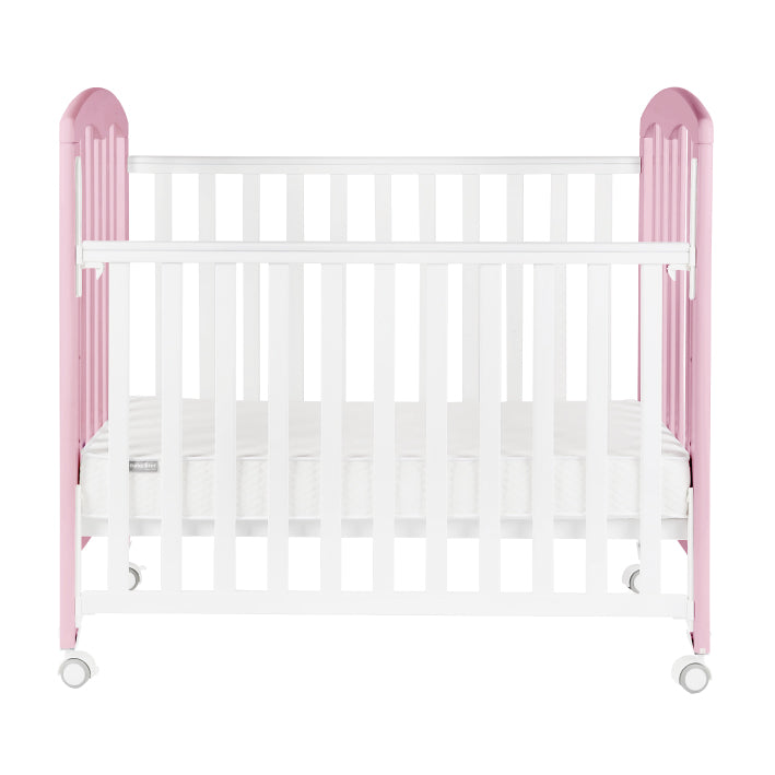 "Baby Star Cozzi Baby Cot with 4"" Mattress - Pink / European Beech"