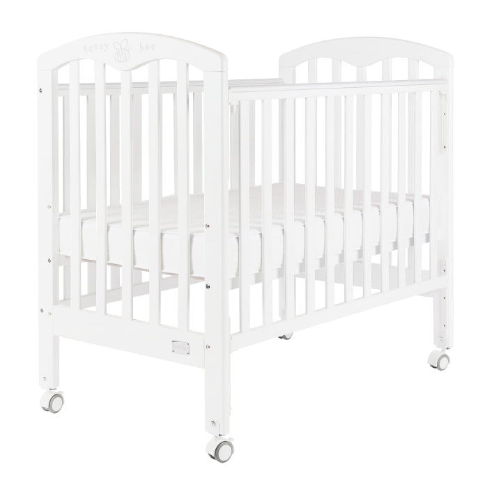 "Baby Star Cozzi Baby Cot with 4"" Mattress - White / European Beech"