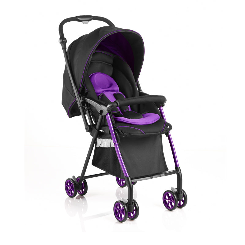 Evenflo 50cm Seat Height Reversible Handle Baby Stroller - Black Purple