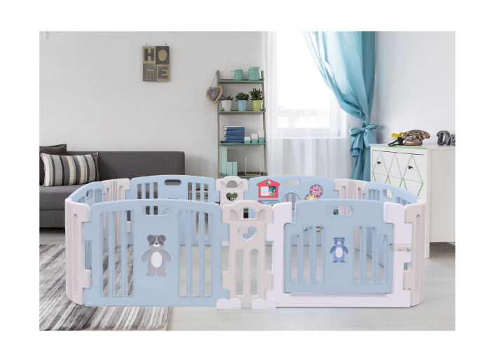 Haenim Toy Premium Baby Room and Play Mat Set with Panel Holders - Pastel Blue