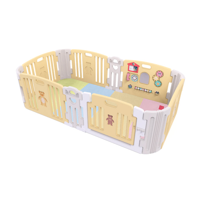 Haenim Toy Premium Baby Room and Play Mat Set with Panel Holders - Pastel Yellow