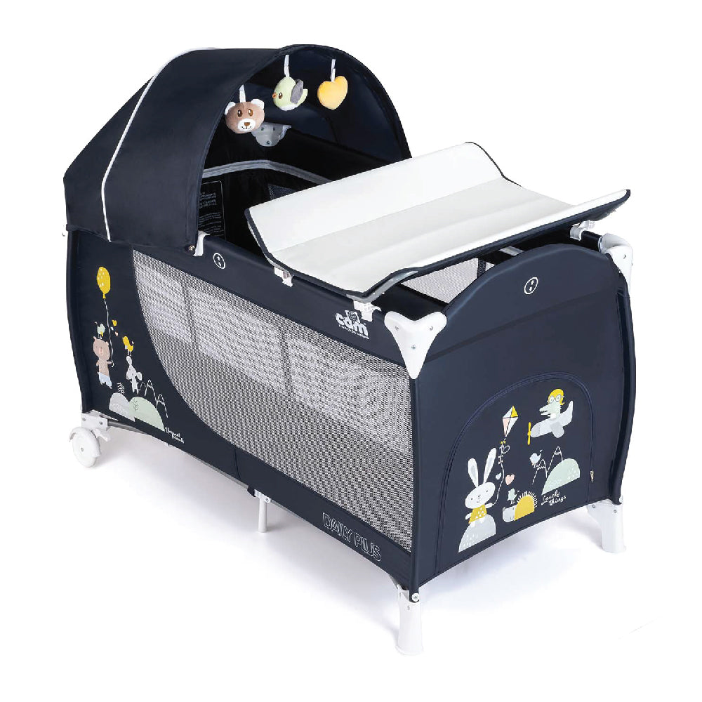 CAM Daily Plus Travel Cot Set - Blue/Animal Party