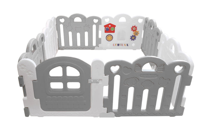 Haenim Toy Petit 8 Panels Baby Room and Play Mat Set with Panel Holders - Grey / White