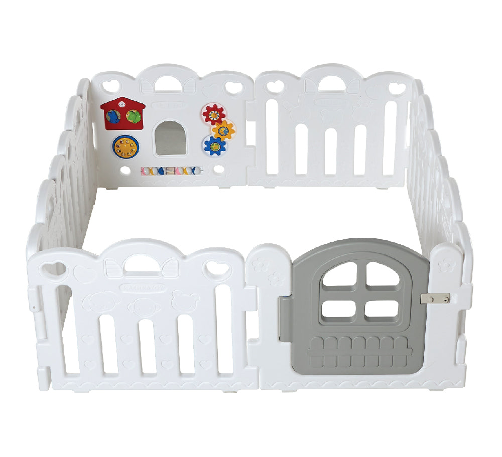 Haenim Toy Petit 8 Panels Baby Room and Play Mat Set with Panel Holders - Pure White