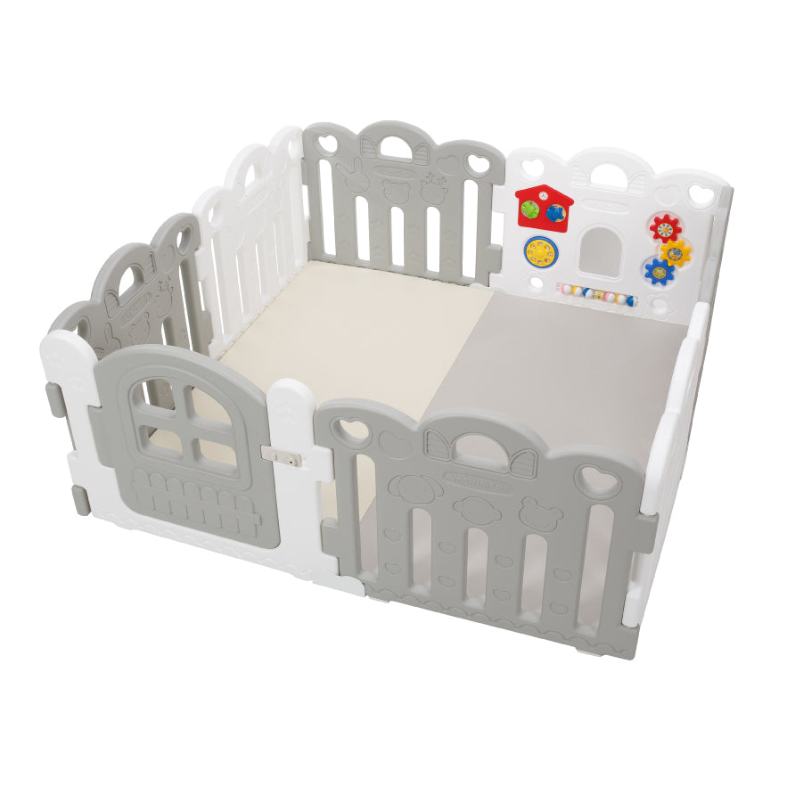 Haenim Toy Petit 8 Panels Baby Room and Play Mat Set with Panel Holders - Grey + White