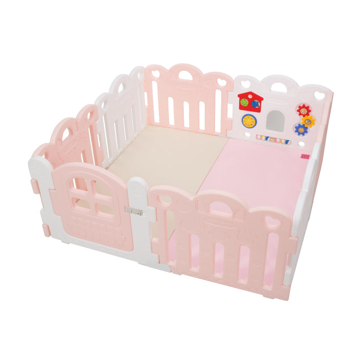 Haenim Toy Petit 8 Panels Baby Room and Play Mat Set with Panel Holders - Pink / White
