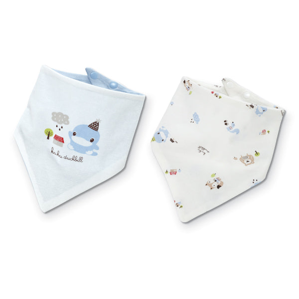 KUKU Reversible Bandana Bibs - Fox Bear x 2 Pack