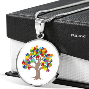 Autism Tree Circle Pendant