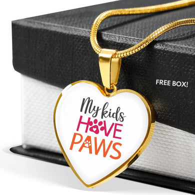 My Kids Have Paws Luxury Heart Necklace