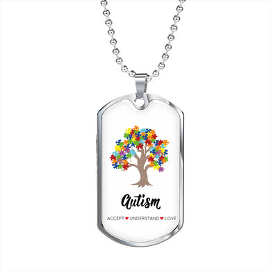 Autism Tree Military Necklace