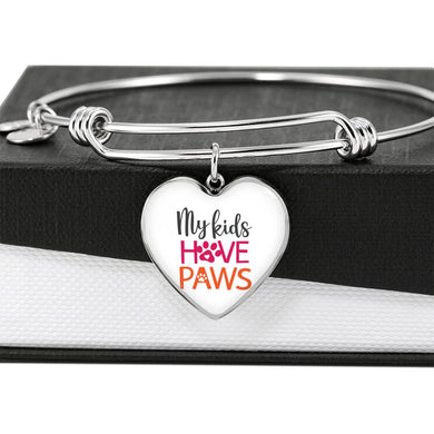 My Kids Have Paws Heart Charm with Bangle