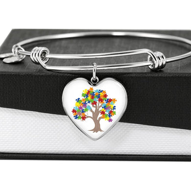 Autism Tree Heart Charm and Bangle