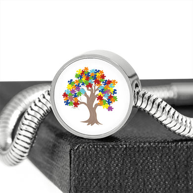 Autism Tree Circle Charm Stainless Steel Bracelet