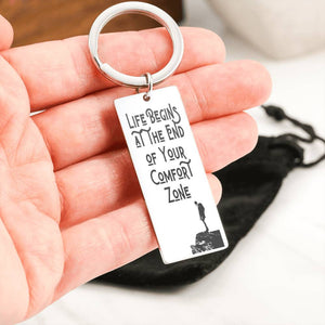 Exclusive Life Begins at the End of Your Comfort Zone Keychain