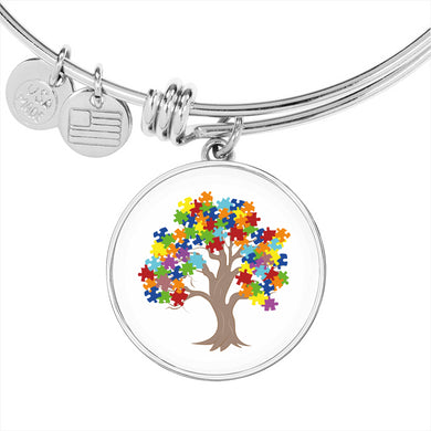 Autism Tree Circle Charm Bangle