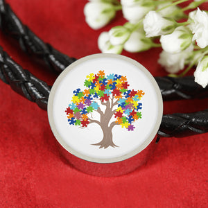 Autism Tree Circle Charm Leather Bracelet