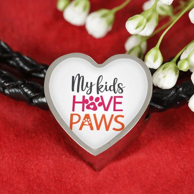 My Kids Have Paws Leather Rope Bracelet and Heart Charm