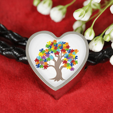 Autism Tree Heart Charm Leather Bracelet