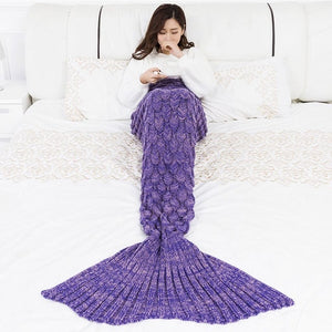 Soft Knitted Mermaid Tail Hand Crochet Blanket - Fish Pattern