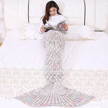 Load image into Gallery viewer, Soft Knitted Mermaid Tail Hand Crochet Blanket - Fish Pattern