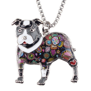 Pit Bull Enamel Dog Necklace