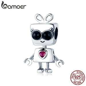 100% 925 Sterling Silver  Girl Robot Childhood Bead Charm