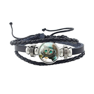 Cat Charm Leather Bracelet