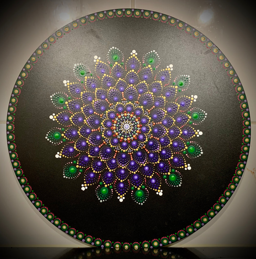 Hand painted purple and green circle art