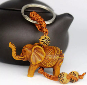 Wooden Elephant Key Ring