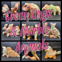 Green Onyx & Marble Animals