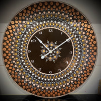 Hand painted brown and white clock