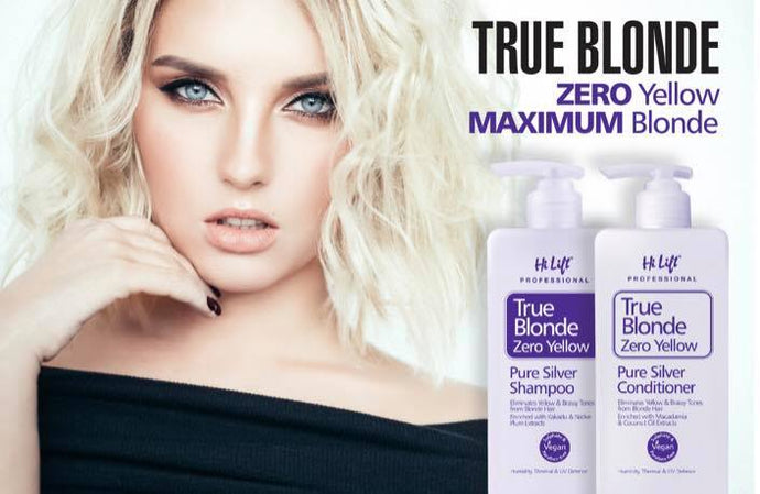 Hi Lift TrueBlonde zero yellow shampoo eliminates unwanted brassy and yellow tones from blonde and grey hair.